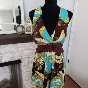 Dots floral halter style dress. Size Large